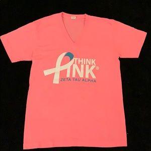 Think Pink Zeta Tau Alpha V-Neck T-Shirt